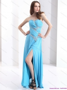 Affordable Sweetheart Ruching 2015 Christmas Party Dresses with Beading and High Slit