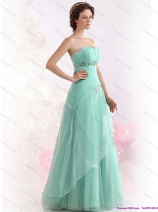 Appple Green Sweetheart Prom Dresses with Ruching and Beading