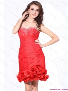 Beading Red Sweetheart Christmas Party Dresses with Hand Made Flowers and Ruching