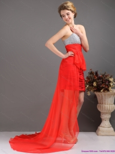 Brush Train Red High Low Prom Dresses with Ruching and Beading