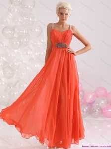 Cheap 2015 Empire Orange Prom Dress with Beading and Ruching