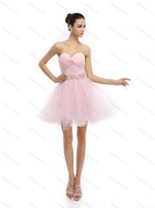 Cute Baby Pink Sweetheart Ruching Short Prom Dresses for 2015