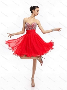 Elegant Sweetheart Short Prom Dresses with Rhinestones and Ruching
