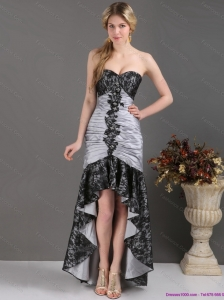 High Low Multi Color Prom Dresses with Ruching and Appliques