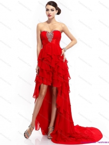 High Low Ruffled Layers Beading Red Prom Dresses for 2015
