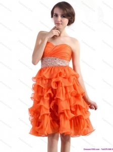 Knee Length Christmas Party Dresses with Rhinestones and Ruffled Layers