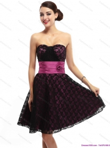 Lovely Sweetheart Mini Length Prom Dress with Lace and Hand Made Flowers
