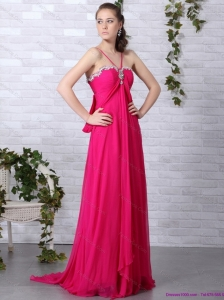 Modern Hot Pink Halter Top Prom Dress with Brush Train