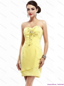 New Style Sweetheart Beading Yellow Christmas Party Dress for 2015