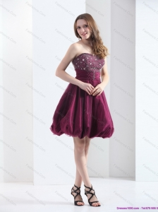 Perfect Wine Red Strapless Short Prom Dresses with Beading