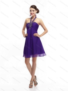 Purple Beading Halter Top 2015 Christmas Party Dresses with Ruching