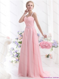 Remarkable 2015 Baby Pink Prom Dress with Brush Train and Ruching