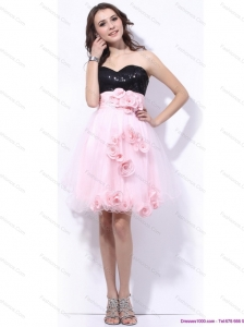 Sweetheart Sequins and Hand Made Flowers Christmas Party Dresses in Pink and Black