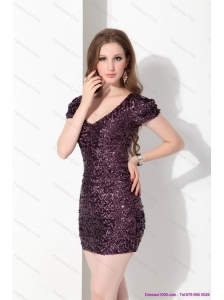 2015 Luxurious V Neck Mini Length Christmas Party Dress with Sequins