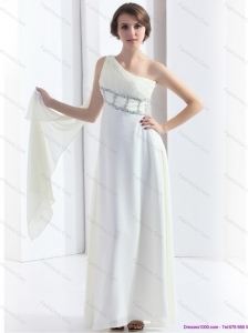 2015 New Style One Shoulder White Christmas Party Dress with Watteau Train and Beading