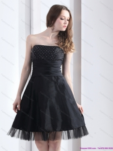 2015 Romantic Strapless Black Prom Dress with Ruching and Beading