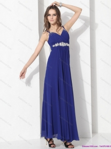 2015 Wonderful Ankle Length Blue Christmas Party Dress with Beading