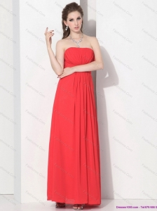 2015 Wonderful Strapless Empire Coral Red Christmas Party Dress with Ruching