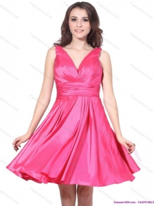 2015 Wonderful V Neck Short Christmas Party Dress with Ruching