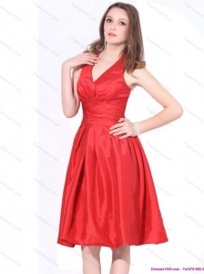 Modern 2015 V Neck Knee Length Christmas Party Dress with Ruching