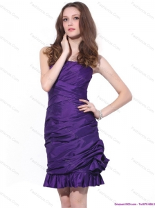 Popular 2015 Strapless Mini Length Christmas Party Dress with Ruching