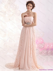 Popular Strapless Sequins and Lace Prom Dress with Brush Train