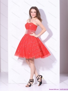 Remarkable 2015 Sweetheart Beading Mini Length Prom Dress in Red