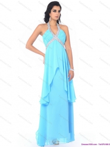 Perfect Halter Top Long Plus Size Prom Dresses with Beading and Ruffles