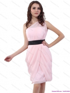 2015 Baby Pink One Shoulder Short Size Prom Dresses with Ruching