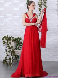 2015 Beautiful Empire Red Plus Size Prom Dress with Brush Train and Beading