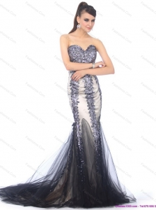 Elegant 2015 Sweetheart Mermaid Plus Size Prom Dress with Beading and Brush Train