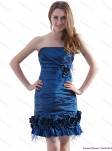 Elegant Ruching Straples Plus Size Prom Dresses with Hand Made Flowers