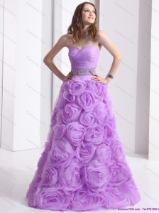 Lilac Sweetheart Plus Size Prom Dresses with Rolling Flowers and Sequins