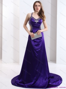 Luxurious 2015 Halter Top Purple Criss Cross Plus Size Prom Dresses with Court Train