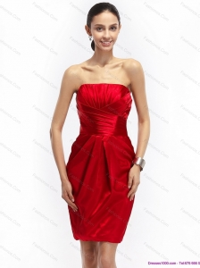 Most Popular Strapless Ruching Plus Size Prom Dresses in Red