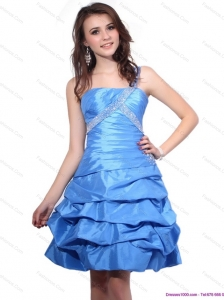 One Shoulder Baby Blue Plus Size Prom Dresses with Pick Ups and Beading