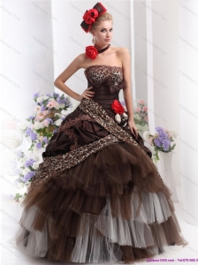Perfect Leopard Multi Color Plus Size Prom Dresses with Hand Made Flowers