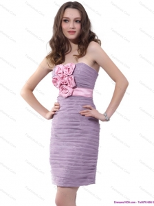 Strapless Short Plus Size Prom Dresses with Hand Made Flowers and Ruching