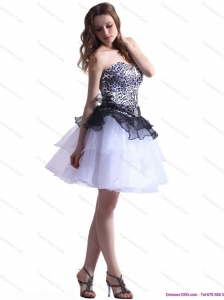 Zebra Printed Sweetheart White Plus Size Prom Dresses with Ruffled Layers
