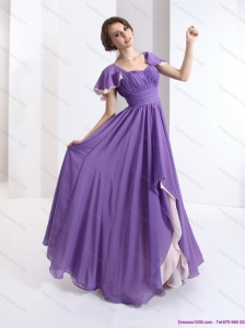2015 GorgeousPlus Size Prom Dress with Ruching and Cap Sleeves