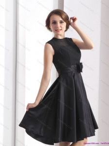 2015 Perfect Black Knee Length Plus Size Prom Dress with Bowknot