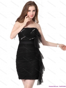Discount 2015 Strapless Ruching Mini Length Plus Size Prom Dresses  in Black