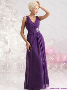 Elegant V Neck Floor Length Plus Size Prom Dress with Beading and Ruching