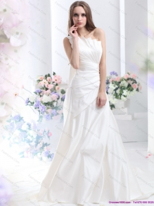 2015 New Pleated One Shoulder White Wedding Dresses with Brush Train