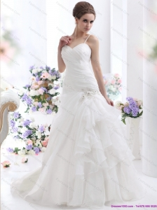 2015 New Ruched White Wedding Dresses with Brush Train and Appliques