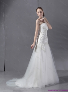 2015 New Ruffled White Wedding Dresses with Sequins and Brush Train