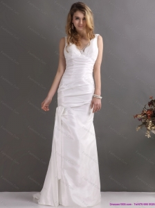 2015 New and Perfect White V Neck Ruching Bridal Dresses with Brush Train