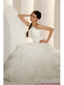 2015 New and Popular Beaded Strapless White Wedding Dresses with Ruffled Layers