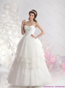 2015 New and Popular Sweetheart Beaded Ruffled Wedding Dresses in White