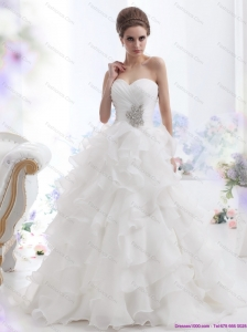 2015 New and Pretty Beading and Ruffled Layers Brush Train Wedding Dresses in White